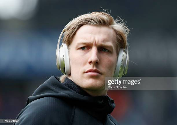 Emil Forsberg of RB Leipzig looks on prior to the Bundesliga match between Hertha BSC and RB Leipzig at Olympiastadion on May 6 2017 in Berlin Germany
