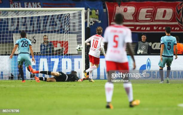 Emil Forsberg of RB Leipzig scores his sides second goal during the UEFA Champions League group G match between RB Leipzig and FC Porto at Red Bull...