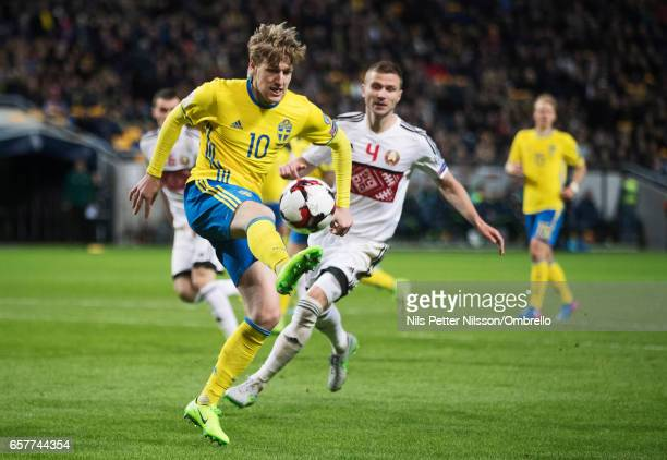 Emil Forsberg of Sweden and Igor Shitov of Belarus competes for the ballduring the FIFA 2018 World Cup Qualifier between Sweden and Belarus at...