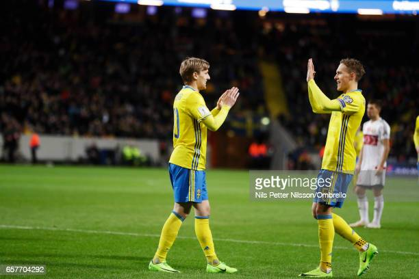 Emil Forsberg of Sweden celebrates after scoring during the FIFA 2018 World Cup Qualifier between Sweden and Belarus at Friends arena on March 25...