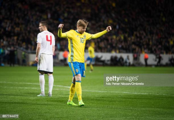Emil Forsberg of Sweden celebrates after scoring to 20 during the FIFA 2018 World Cup Qualifier between Sweden and Belarus at Friends arena on March...