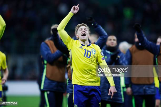 Emil Forsberg of Sweden celebrates after the victory in the FIFA 2018 World Cup Qualifier PlayOff Second Leg between Italy and Sweden at San Siro...