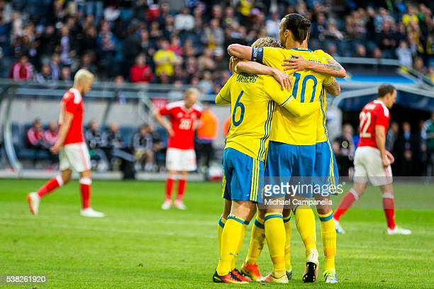 Emil Forsberg of Sweden celebrates with Zlatan Ibrahimovic after scoring the opening goal during an international friendly between Sweden and Wales...