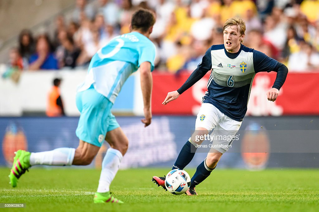 Emil Forsberg of Sweden competes for the ball during the international friendly match between Sweden and Slovenia May 30, 2016 in Malmo, Sweden.