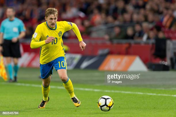 Emil Forsberg of Sweden controls the ball during the FIFA 2018 World Cup Qualifier between Netherlands and Sweden at Amsterdam ArenA on October 10...