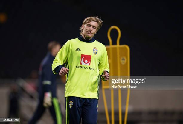 Emil Forsberg of Sweden during Sweden National Team training session at Friends arena on March 21 2017 in Solna Sweden