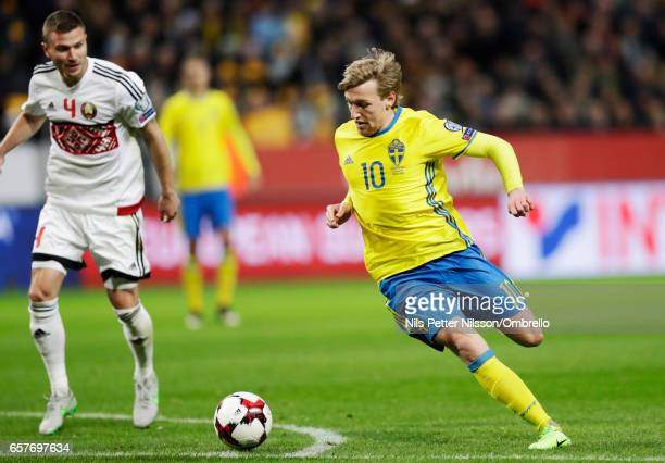 Emil Forsberg of Sweden during the FIFA 2018 World Cup Qualifier between Sweden and Belarus at Friends arena on March 25 2017 in Solna