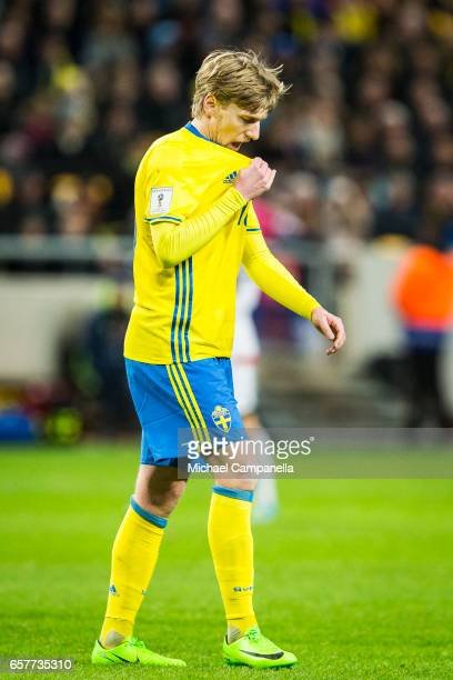 Emil Forsberg of Sweden during the FIFA 2018 World Cup Qualifier between Sweden and Belarus at Friends arena on March 25 2017 in Solna Sweden