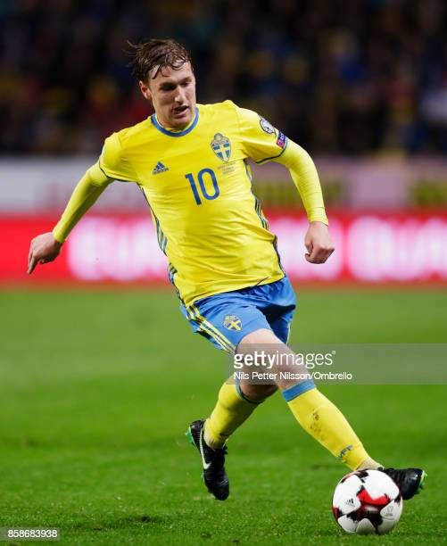 Emil Forsberg of Sweden during the FIFA 2018 World Cup Qualifier between Sweden and Luxembourg at Friends Arena on October 7 2017 in Solna Sweden