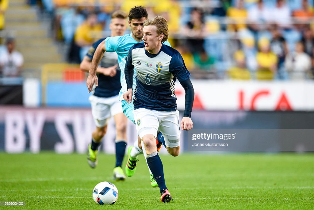 Emil Forsberg of Sweden during the international friendly match between Sweden and Slovenia May 30, 2016 in Malmo, Sweden.