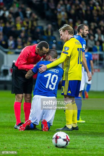 Emil Forsberg of Sweden excuses himself to Leonardo Bonucci of Italy after they collided during the FIFA 2018 World Cup Qualifier PlayOff First Leg...