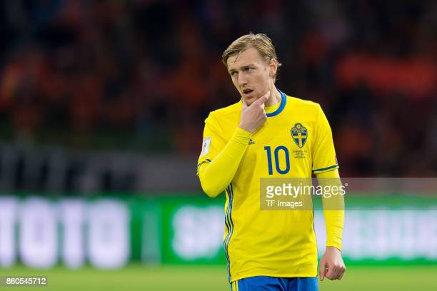 Emil Forsberg of Sweden gestures during the FIFA 2018 World Cup Qualifier between Netherlands and Sweden at Amsterdam ArenA on October 10 2017 in...