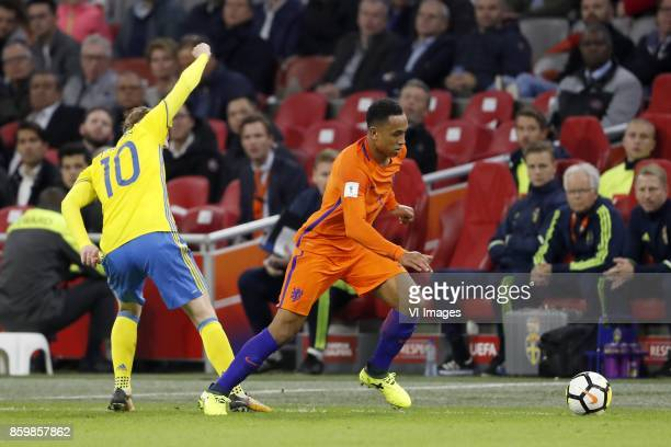 Emil Forsberg of Sweden Kenny Tete of Holland during the FIFA World Cup 2018 qualifying match between The Netherlands and Sweden at the Amsterdam...