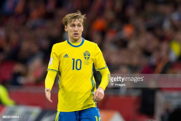 Emil Forsberg of Sweden looks on during the FIFA 2018 World Cup Qualifier between Netherlands and Sweden at Amsterdam ArenA on October 10 2017 in...