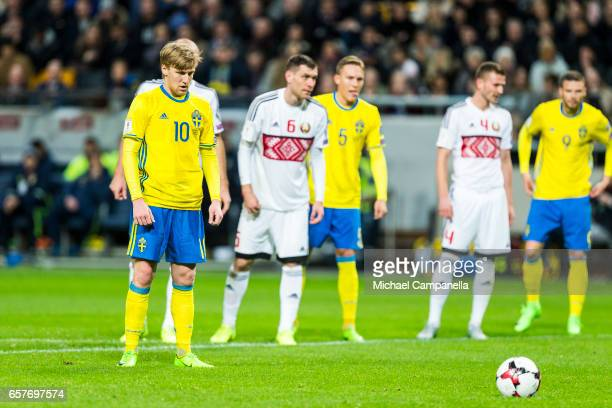 Emil Forsberg of Sweden prepares to take a penalty during the FIFA 2018 World Cup Qualifier between Sweden and Belarus at Friends arena on March 25...