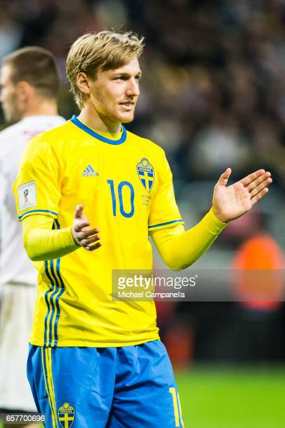 Emil Forsberg of Sweden scores the 20 goal during the FIFA 2018 World Cup Qualifier between Sweden and Belarus at Friends arena on March 25 2017 in...