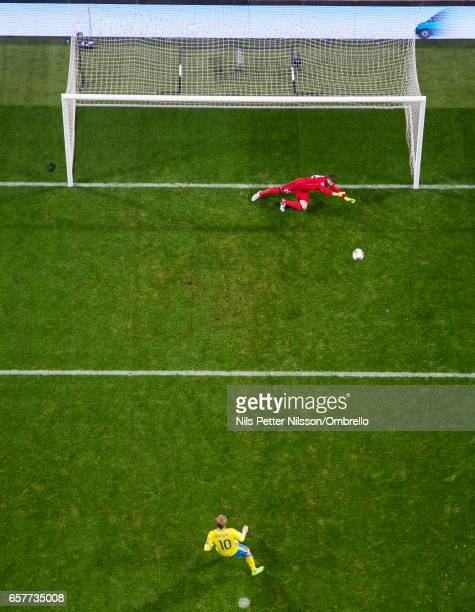Emil Forsberg of Sweden scores the opening goal to 10 on penalty during the FIFA 2018 World Cup Qualifier between Sweden and Belarus at Friends arena...