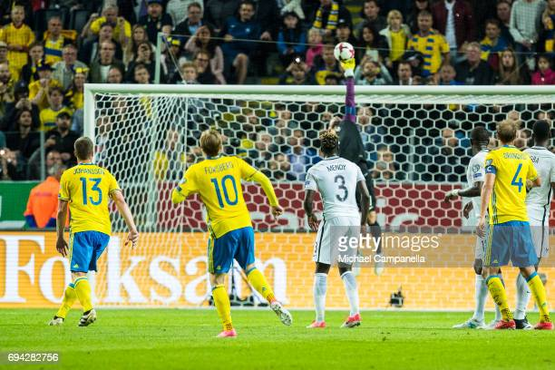 Emil Forsberg of Sweden takes a free kick during the FIFA 2018 World Cup Qualifier between Sweden and France at Friends Arena on June 9 2017 in...