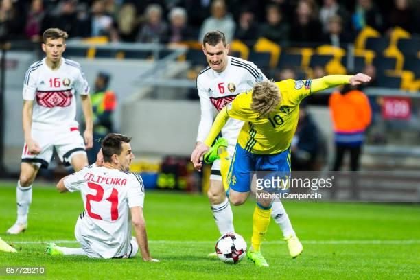 Emil Forsberg of Sweden trips inside the penalty area during the FIFA 2018 World Cup Qualifier between Sweden and Belarus at Friends arena on March...