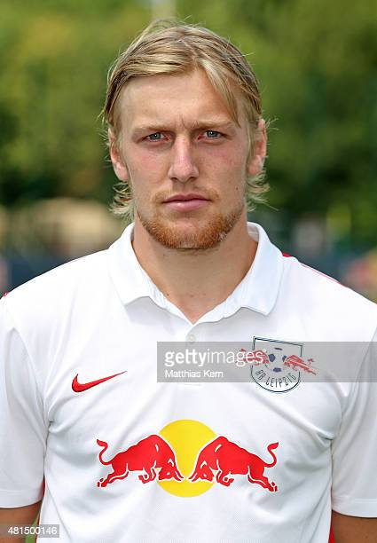 Emil Forsberg poses during the official team presentation of RB Leipzig on July 21 2015 in Leipzig Germany