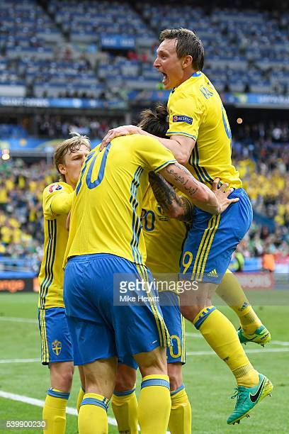 Emil Forsberg Zlatan Ibrahimovic John Guidetti and Kim Kallstrom of Sweden celebrate their team's first goal during the UEFA EURO 2016 Group E match...