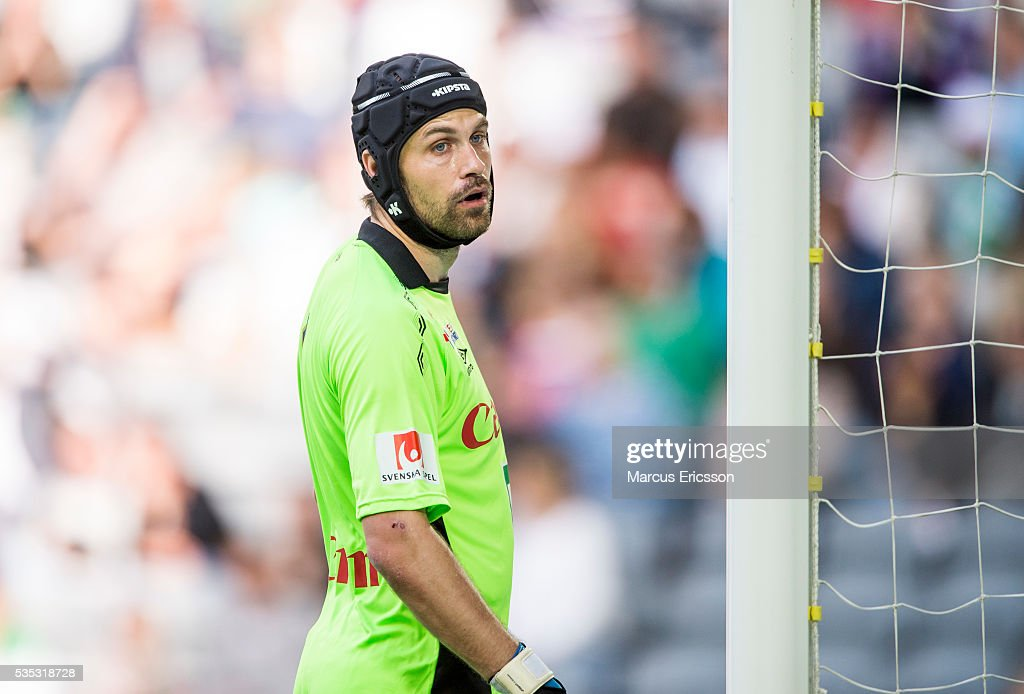 Emil Hedvall goalkeeper of Gefle IF during the Allsvenskan match between Hammarby IF and Gefle IF at Tele2 Arena on May 29, 2016 in Stockholm, Sweden.