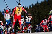 Emil Hegle Svendsen in the lead on the course during Biathlon World Cup 15km Mass Start Men on Pokljuka 2014