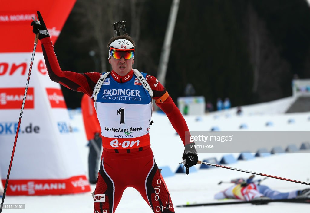 Emil Hegle Svendsen of Norway celebrates after he wins the gold medal in the men's 12.5km pursuit event during the IBU Biathlon World Championships at Vysocina Arena on February 10, 2013 in Nove Mesto na Morave, Czech Republic.