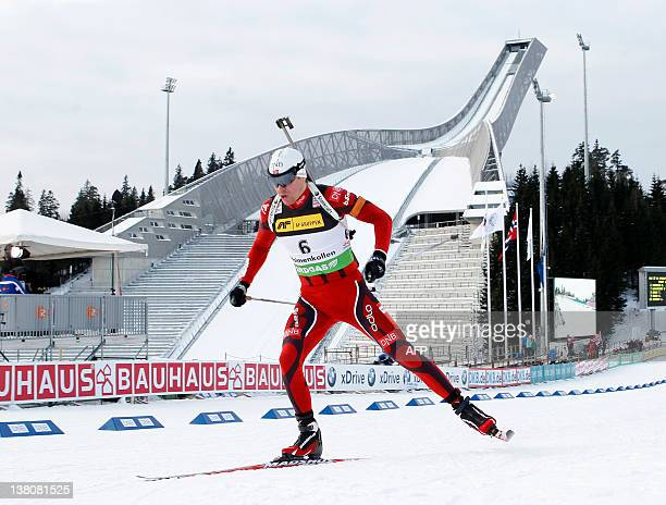Emil Hegle Svendsen of Norway finishes third in the Biathlon World Cup men`s sprint in the Holmenkollen Ski Arena in Oslo on February 2 2012 AFP...