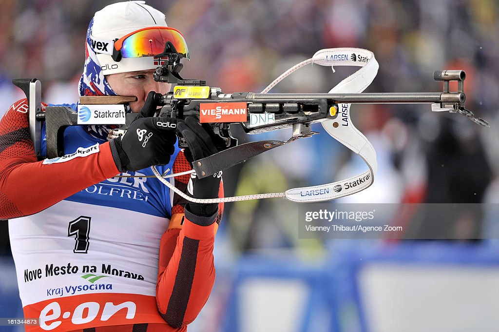 Emil Hegle Svendsen of Norway takes 1st place during the IBU Biathlon World Championship Men's 12.5km Pursuit on February 10, 2013 in Nove Mesto, Czech Republic.