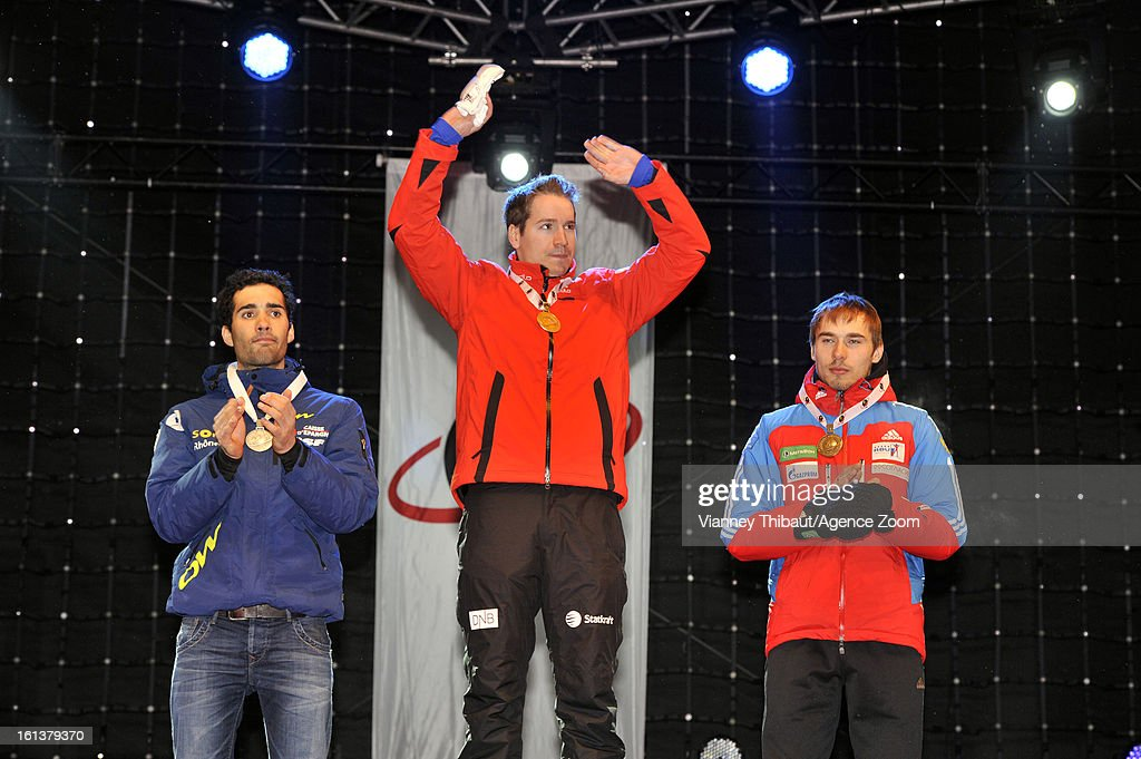 Emil Hegle Svendsen of Norway takes 1st place, Martin Fourcade of France takes 2nd place, Anton Shipulin of Russia takes 3rd place during the IBU Biathlon World Championship Men's 12.5km Pursuit on February 10, 2013 in Nove Mesto, Czech Republic.
