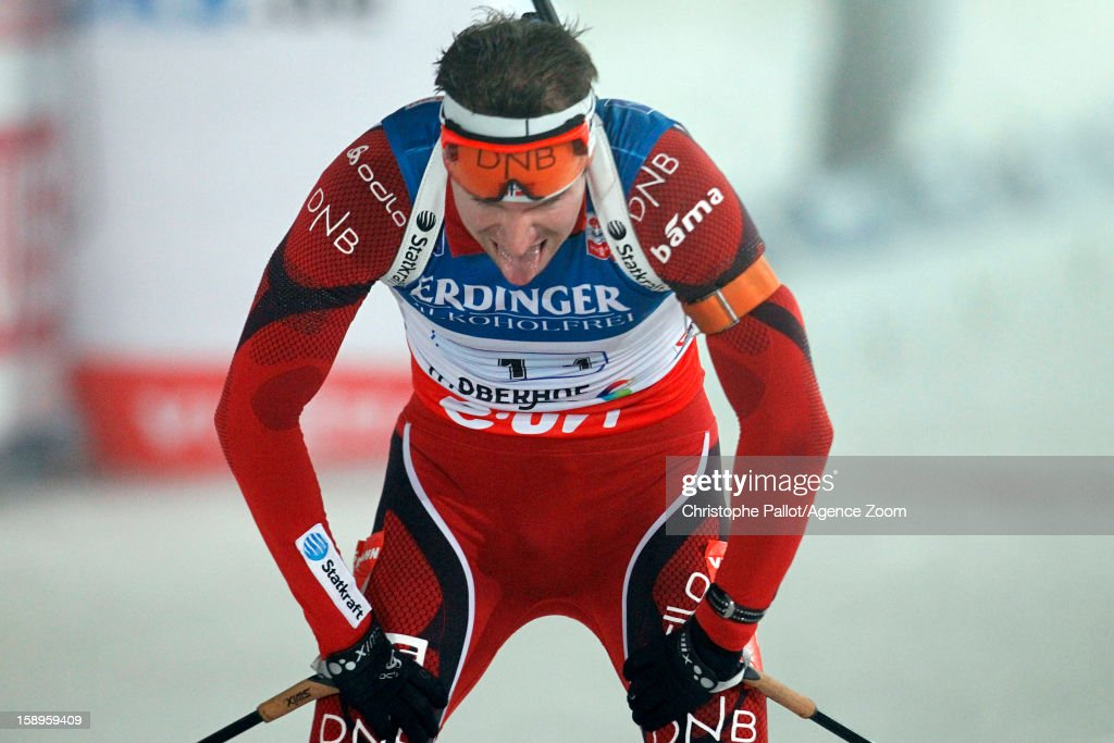 Emil Hegle Svendsen of Norway takes 2nd place during the IBU Biathlon World Cup Men's Relay on January 04, 2013 in Oberhof, Germany.