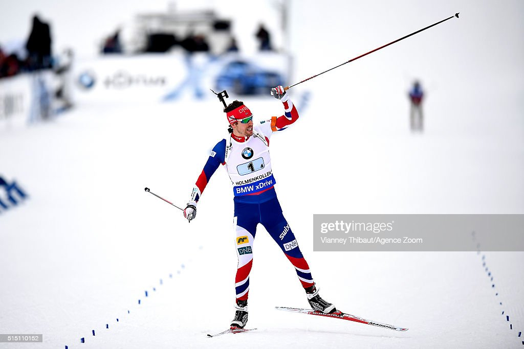 <a gi-track='captionPersonalityLinkClicked' href=/galleries/search?phrase=Emil+Hegle+Svendsen&family=editorial&specificpeople=831528 ng-click='$event.stopPropagation()'>Emil Hegle Svendsen</a> of Norway wins the gold medal during the IBU Biathlon World Championships Men's Relay on March 12, 2016 in Oslo, Norway.