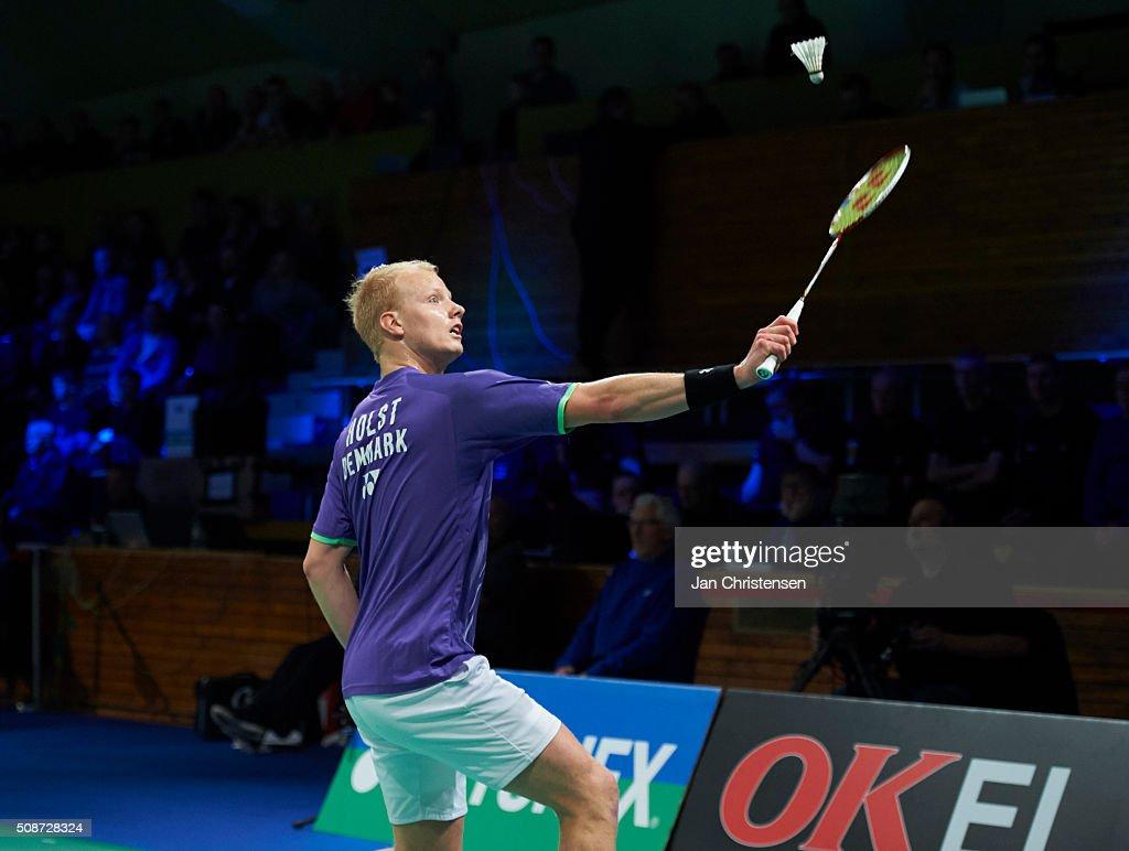 Emil Holst of Skovshoved in action during Danish Badminton Championships YONEX DM 2016 - Semifinals at Arhus Stadionhal on February 6, 2016 in Arhus, Denmark.
