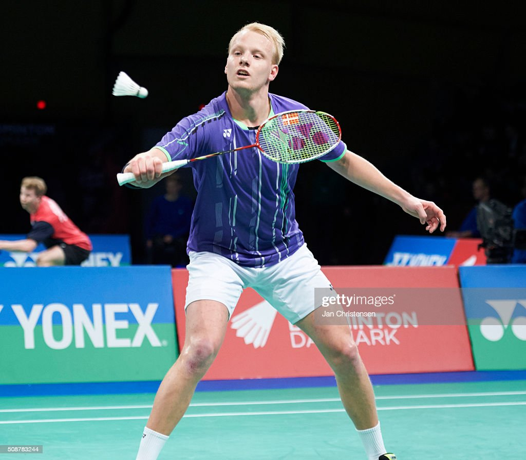 Emil Holst of Skovshoved in action during the Danish Badminton Championships YONEX DM 2016 - Semifinals at Arhus Stadionhal on February 6, 2016 in Arhus, Denmark.