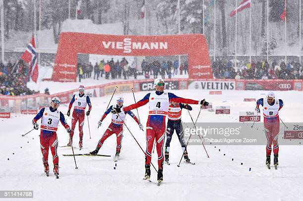 Emil Iversen of Norway takes 1st place Finn Haagen Krogh of Norway takes 2nd place Petter Northug Jr of Norway takes 3rd place during the FIS Nordic...