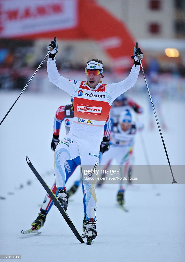 <a gi-track='captionPersonalityLinkClicked' href=/galleries/search?phrase=Emil+Joensson&family=editorial&specificpeople=4045550 ng-click='$event.stopPropagation()'>Emil Joensson</a> of Sweden celebrates his victory during the Men's Individual Sprint event in the FIS Cross Country World Cup on December 12, 2010 in Davos, Switzerland.