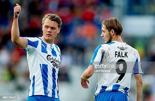Emil Larsen and Rasmus Falk of OB Odense looks on during the Danish Alka Superliga match between OB Odense and Viborg FF at TreFor Park on September...