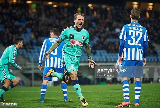 Emil Nielsen of AGF Aarhus celebrates after scoring their first goal during the Danish Alka Superliga match between Esbjerg and AGF Aarhus at Blue...