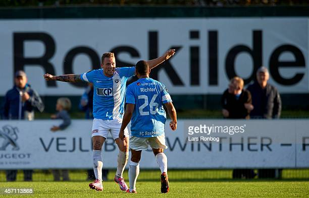 Emil Nielsen of FC Roskilde celebrates after scoring their first goal during the Danish NordicBet Liga match between FC Roskilde and Viborg FF at...