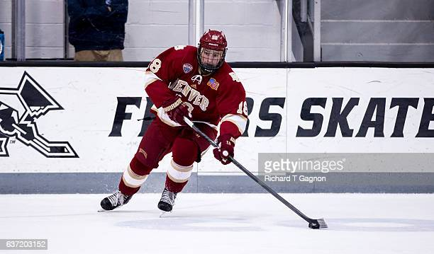 Emil Romig of the Denver Pioneers skates against the Providence College Friars during NCAA hockey at the Schneider Arena on December 30 2016 in...