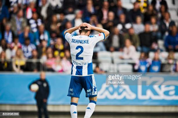 Emil Salomonsson of IFK Goteborg dejected during the Allsvenskan match between IFK Goteborg and BK Hacken at Gamla Ullevi on August 20 2017 in...