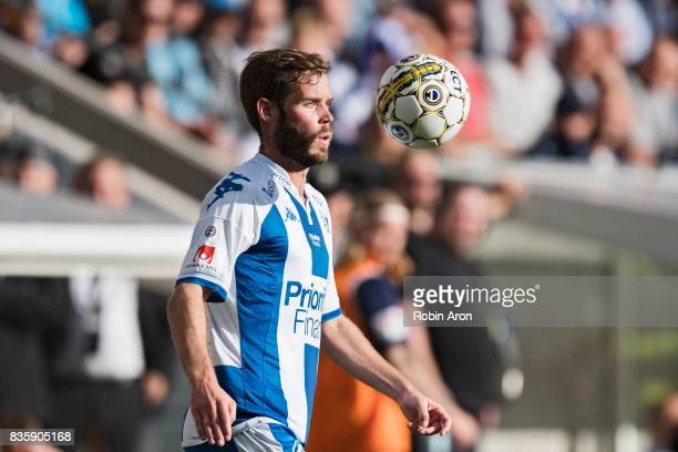 Emil Salomonsson of IFK Goteborg receives the ball during the Allsvenskan match between IFK Goteborg and BK Hacken at Gamla Ullevi on August 20 2017...