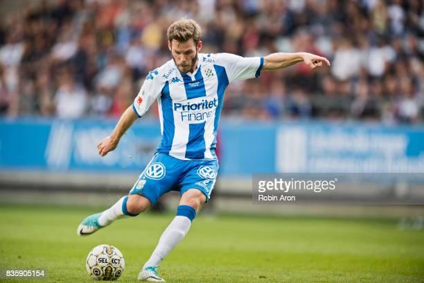 Emil Salomonsson of IFK Goteborg shoots during the Allsvenskan match between IFK Goteborg and BK Hacken at Gamla Ullevi on August 20 2017 in...