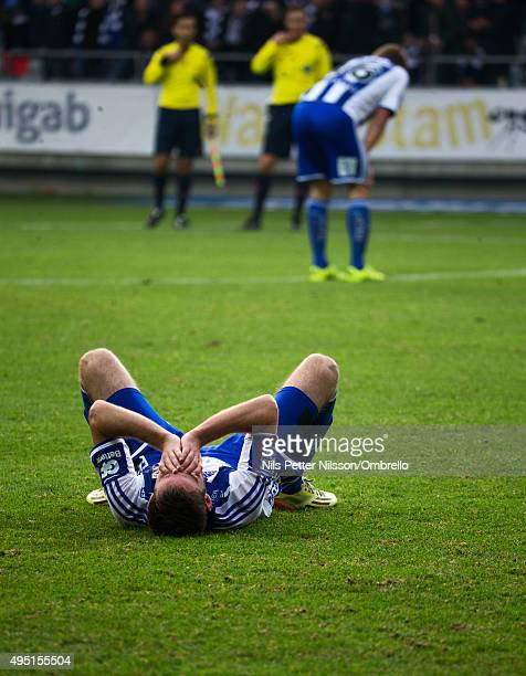Emil Samuelsson reacts after the match between IFK Goteborg and Kalmar FF at Gamla Ullevi on October 31 2015 in Gothenburg Sweden