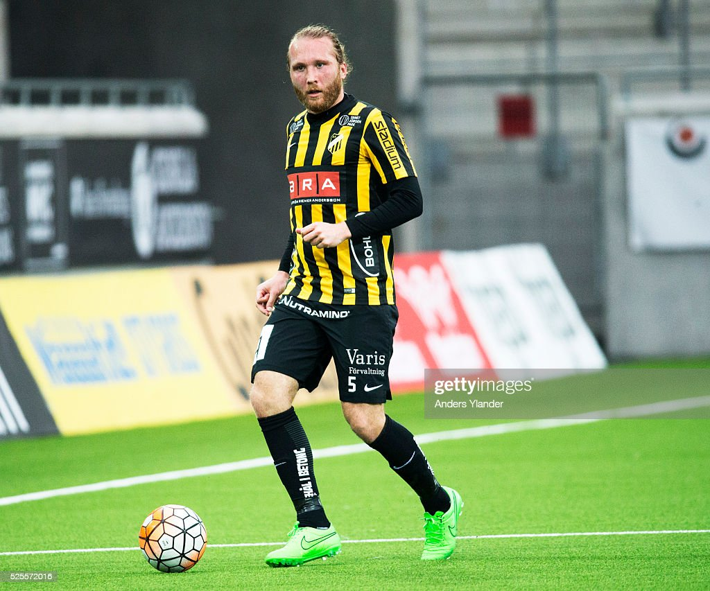 Emil Wahlstrom of BK Hacken controls the ball during the Allsvenskan match between BK Hacken and Gefle IF at Bravida Arena on April 28, 2016 in Gothenburg, Sweden.