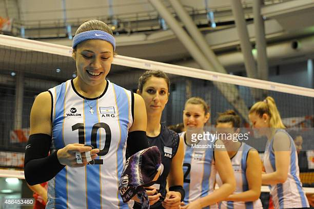 Emilce Sosa of Argentina looks on prior to the match between Argentina and Peru during the FIVB Women's Volleyball World Cup Japan 2015 at Park Arena...