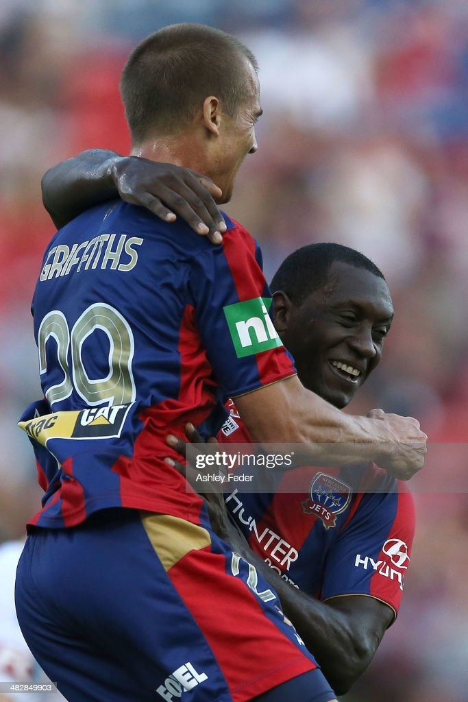 Emile Heskey and Joel Griffiths of the Jets celebrate a goal during the round 26 ALeague match between the Newcastle Jets and Melbourne Victory at...