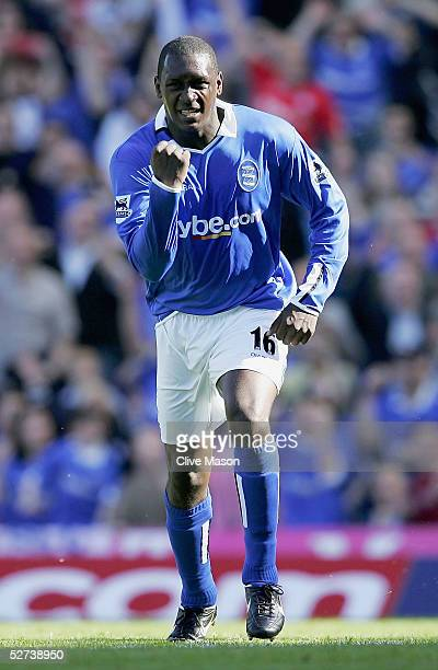 Emile Heskey of Birmingham City celebrates his goal during the Barclays Premiership match between Birmingham City and Blackburn Rovers at St Andrews...