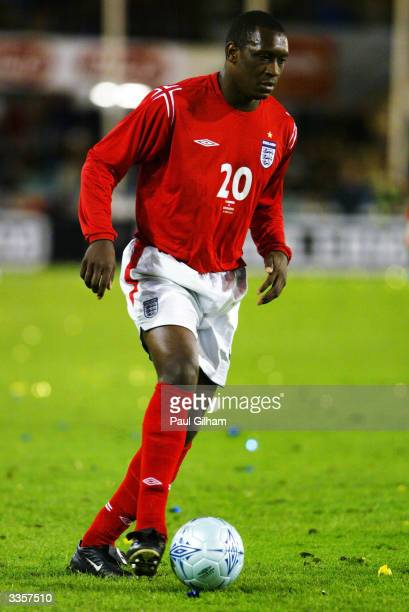 Emile Heskey of England runs with the ball during the International Friendly match between Sweden and England held on March 31 2004 at the Ullevi...